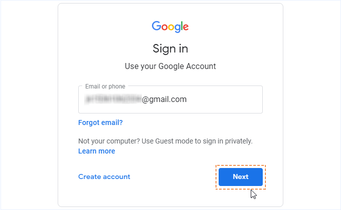Sign in use your Google account