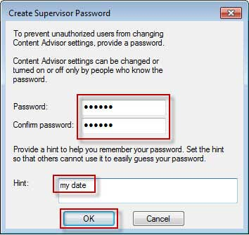 Type password and hint