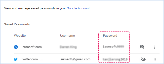 Show saved password in Chrome