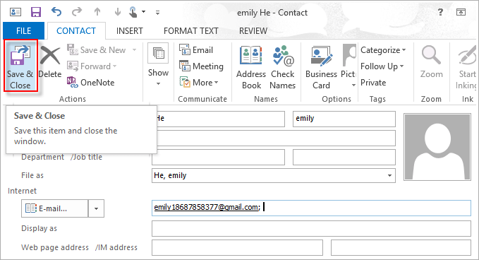 add new contact form address book