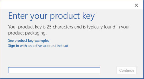 Enter product key to activate Office 2016
