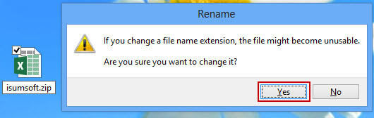 Change file name extension from .xlsx to .zip