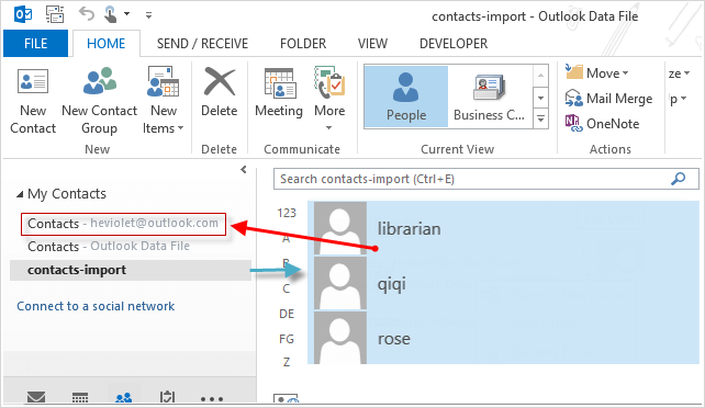 merge contacts to outlook com
