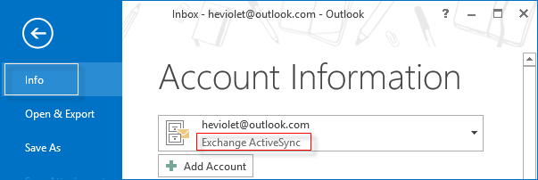 view the type of outlook account