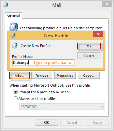 add outlook profile