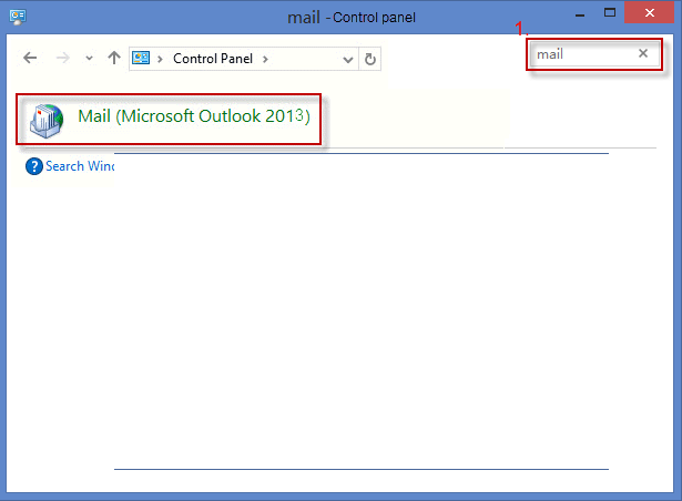create outlook profile from control panel