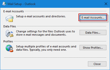 click E-mail Accounts button