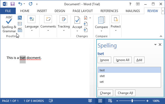 spelling and grammar pane