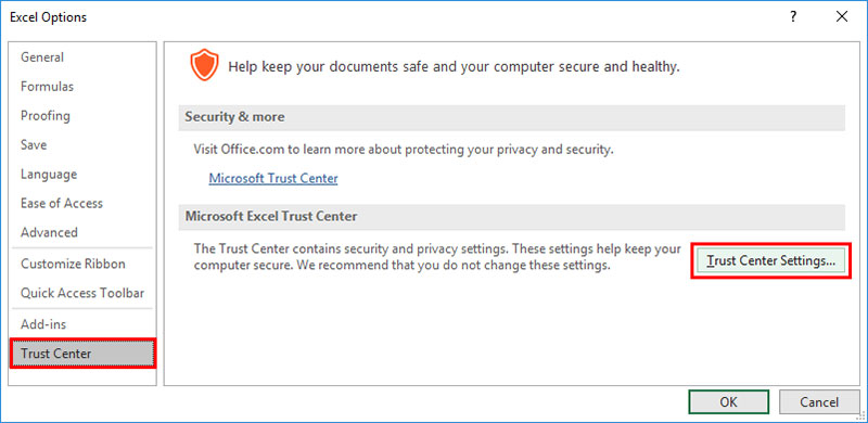 click trust center settings