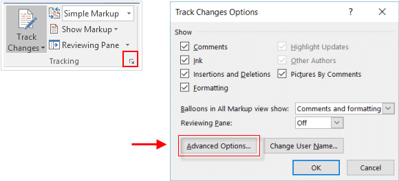 Advance tracking options