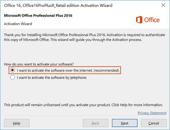 Activate Office using Office Activation Wizard