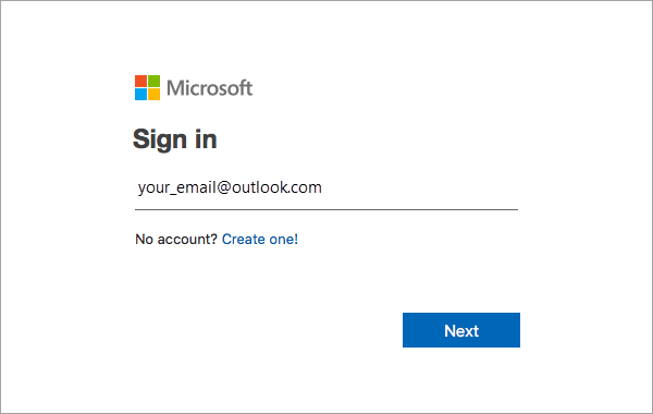 Sign in with MS account