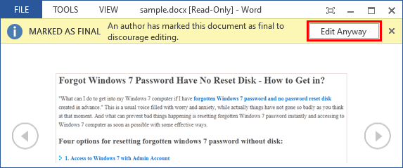 How to Edit a Locked Word Document without Password