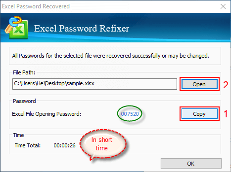 Excel password recovered