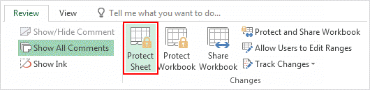Password protect worksheet