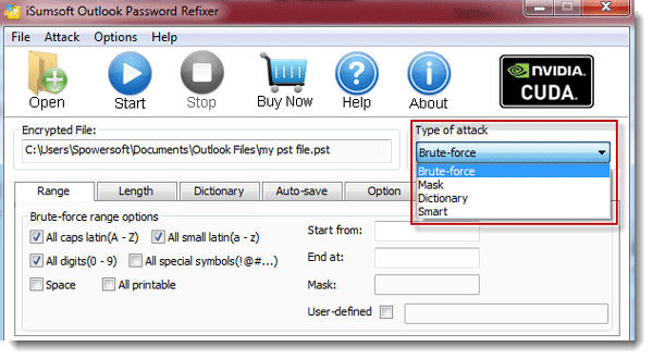 Select password attack type