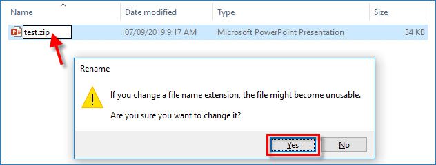 change file name extension