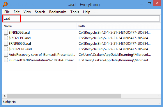 Use Everything to search for .asd file