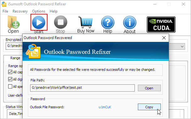 Start recover PST password