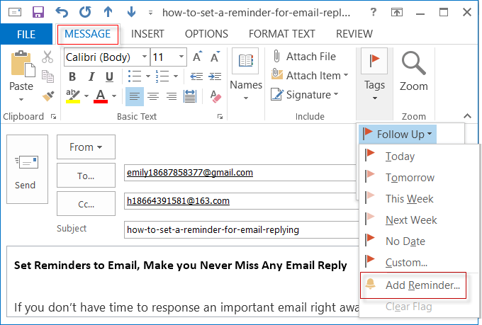 set a flag reminder for reminding email reply