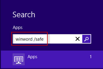 Start Office 2016 in safe mode through search box