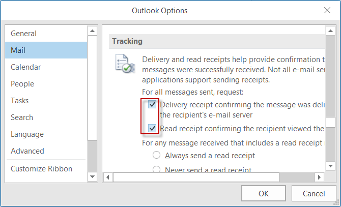 track email with read and delivery receipts