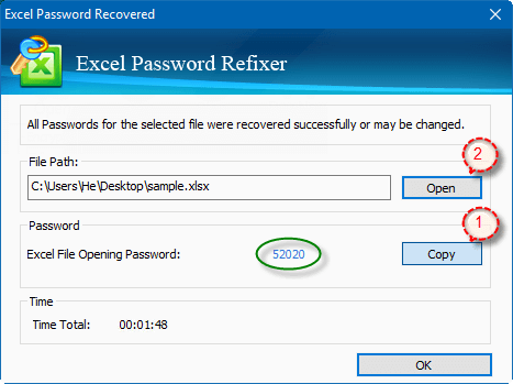 Excel spreadsheet password is recovered