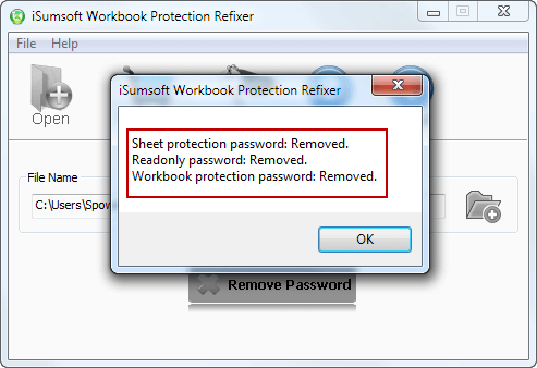 Click Remove Password