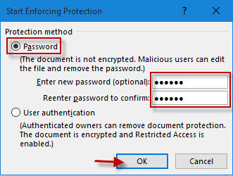 Require a password to open or modify a workbook