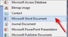 Microsoft Word missing from context menu