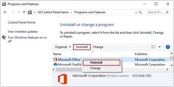 Uninstall MS Office