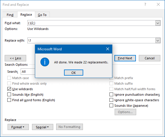 Remove extra space form Word document
