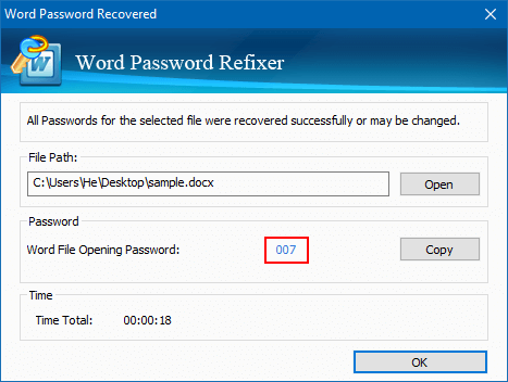 Word  file opening password is cracked
