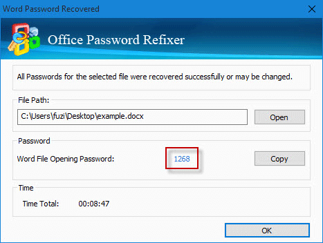 password is found