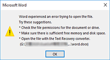 word experienced error trying to open file