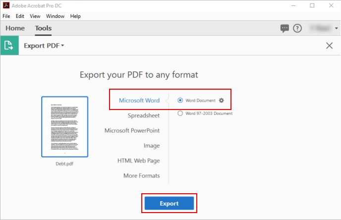 Export PDF to Word
