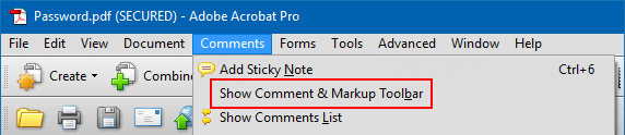 Show comments and markup tool