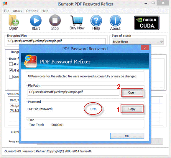 copy password and open pdf file