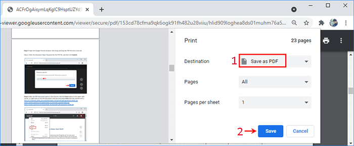 Step 4 In The Save As Dialog Select One Destination Type A File Name And Then Click Chrome Browser Will Bypass PDF Permissions