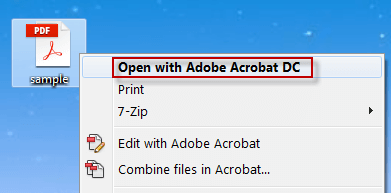 Open PDF with Adobe Acrobat