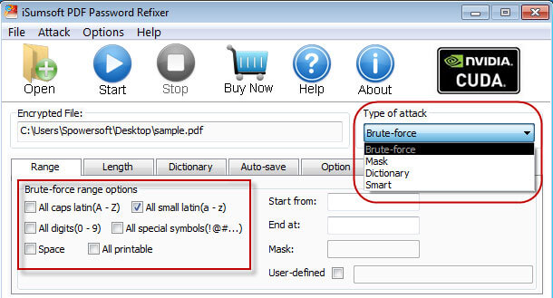 Select password attack type and settings