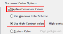 use high contrast color in pdf files