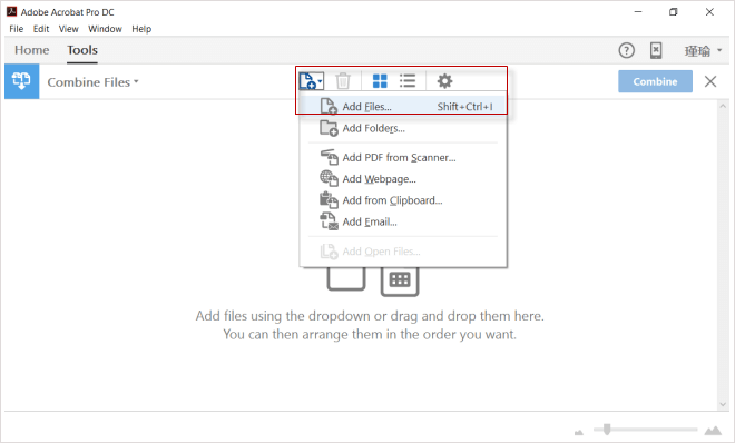 add files by dropdown or drag