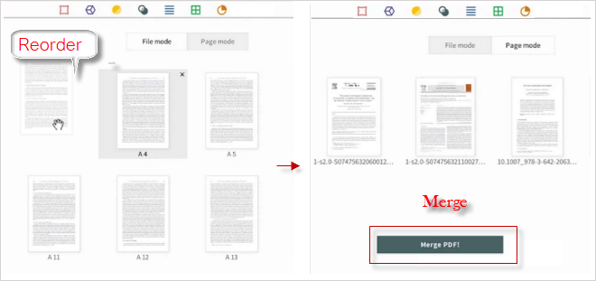 arrange pdf files in page mode