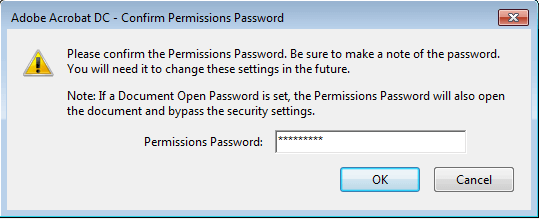 Confirm Permissions Password