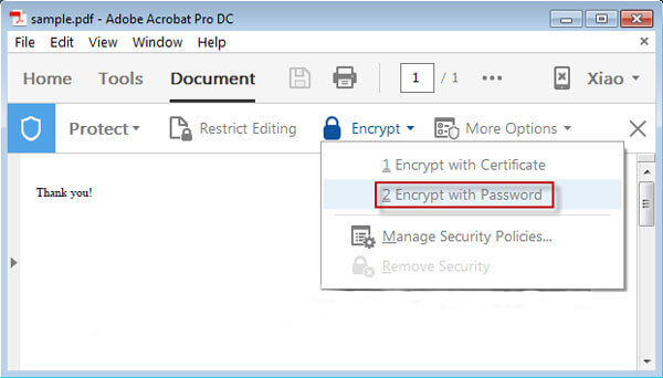 Click on Encrypt with Password