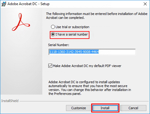 Activate Acrobat DC with serial number