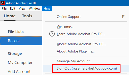 Sign out Adobe ID
