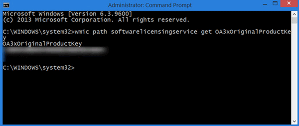Find product key with command prompt