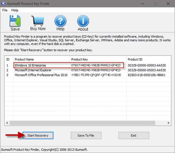 Click Start Recovery to find Windows product key